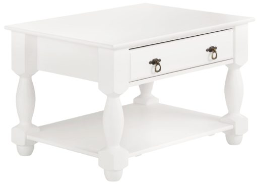 Wspaniały, sosnowy stolik z szufladą i półką, biały
