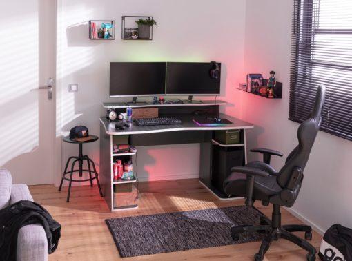 Nowoczesne biurko gamingowe, grafitowo-czarne