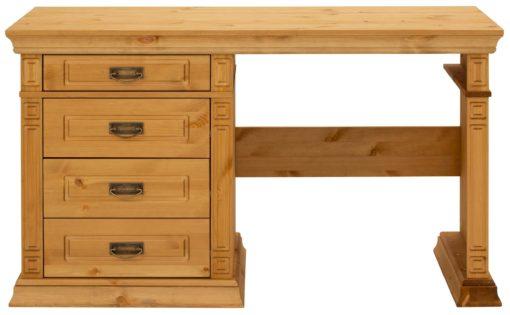 Sosnowe biurko z szufladami, pięknie zdobione