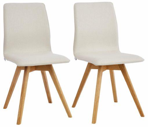 Eleganckie krzesła na dębowej ramie, odcienie beżu - 4 sztuki