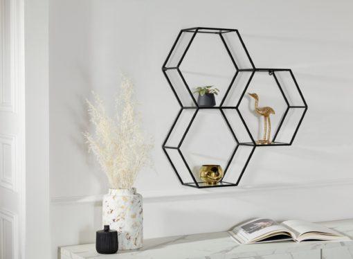 Fascynująca, czarna półka ścienna w formie heksagonu
