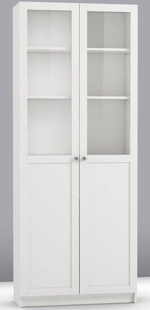 Praktyczny zestaw dwóch przeszklonych drzwi, białych