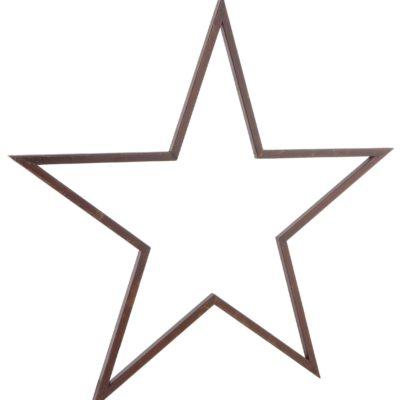 Dekoracyjna, metalowa gwiazda w rdzawym kolorze