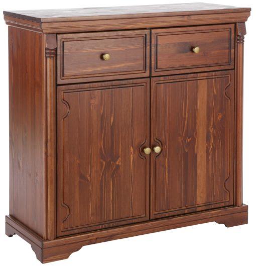 Rustykalna, sosnowa komoda z szufladami i półką, ciemny brąz