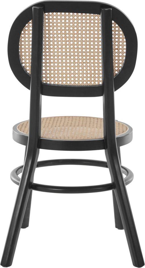 Jesionowe czarne krzesło z rattanowym siedziskiem i oparciem