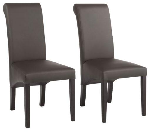 Krzesła tapicerowane ciemny brąz, naturalna skóra - 6 sztuk