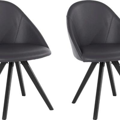 Krzesła pokryte prawdziwą skórą, nogi dębowe - 2 sztuki