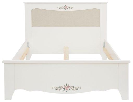 Urokliwe białe łóżko z motywem kwiatowym 180x200 cm