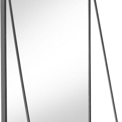 Lustro ścienne z metalową półką, czarne, styl retro