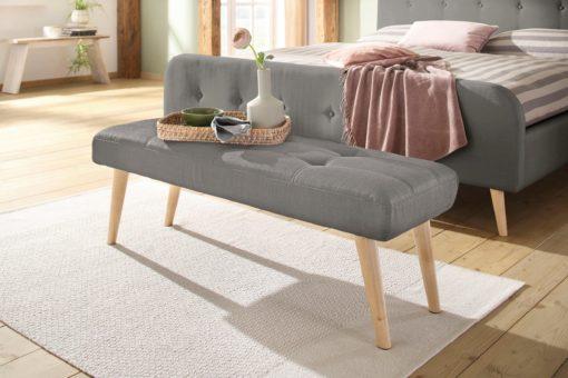 Tapicerowana ławka w prostym stylu, szara 140 cm
