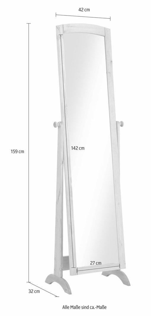 Duże, stojące lustro w sosnowej ramie, białe