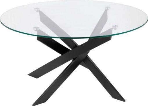 Nowoczesny stolik ze szklanym blatem i metalową podstawą