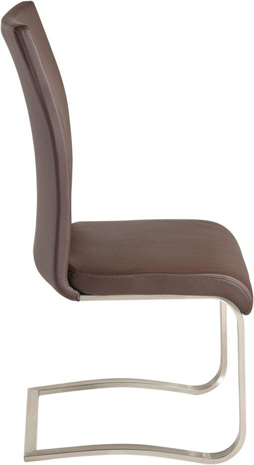 Brązowe krzesła ze sztucznej skóry, na płozach - 6 sztuk