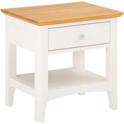 Sosnowy stolik nocny z szufladką w stylu rustykalnym