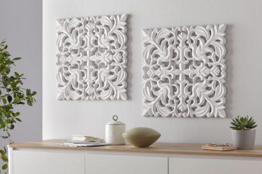 Podwójna dekoracja ścienna Ornament, biała