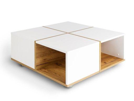 Nowoczesny stolik kawowy KORSA biało-dębowy