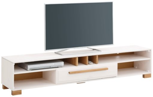 Drewniana szafka rtv, 180 cm w kontrastującej kolorystyce