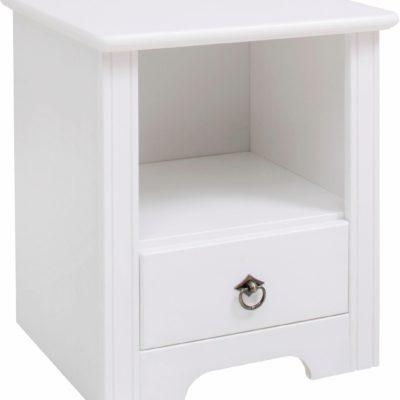 Praktyczna szafka nocna biała, z sosny