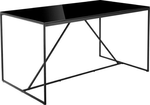 Industrialny, czarny stół ze szklanym blatem, 140 cm