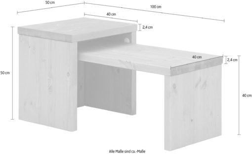 Zestaw dwóch sosnowych stolików o różnych wymiarach