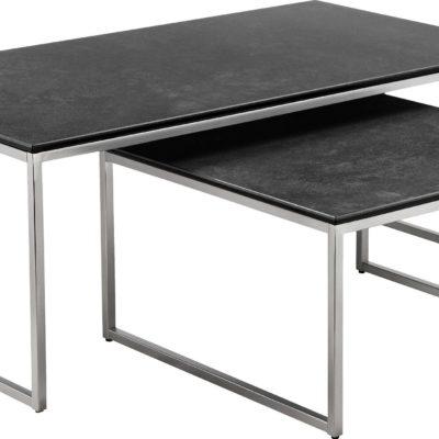 Zestaw dwóch modernistycznych stolików w optyce betonu