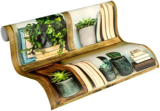 Winylowa tapeta w stylu shabby chic ze wzorem regału na książki