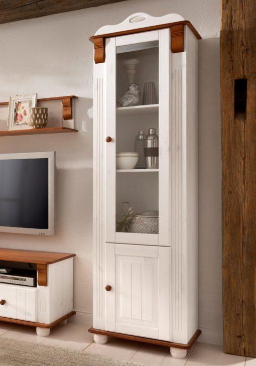 Zgrabna, pięknie zdobiona witryna z sosny, biało-wiśniowa