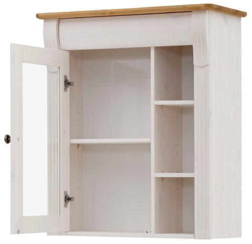 Wisząca szafka z przeszklonymi drzwiami, sosnowa