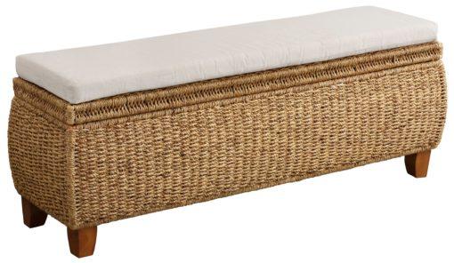 Ławka z hiacyntu wodnego ze schowkiem i poduszką
