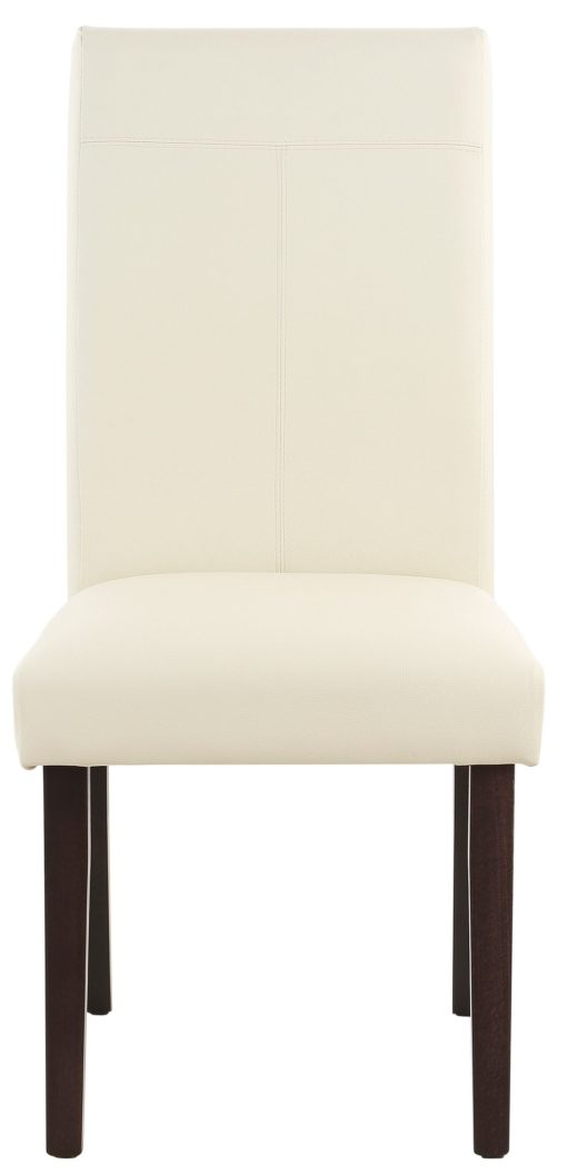 Beżowe krzesła ze sztucznej skóry, nogi wenge - 4 sztuki