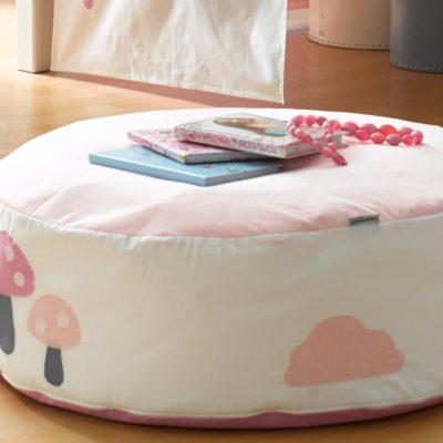 Pufa  z pokrowcem z bawełny, różowa 75 cm