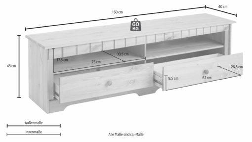 Sosnowa szafka rtv szerokość 160 cm, ciemnobrązowa