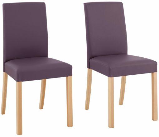 Klasyczne krzesła Nina w zestawie 2 sztuki, bakłażanowe