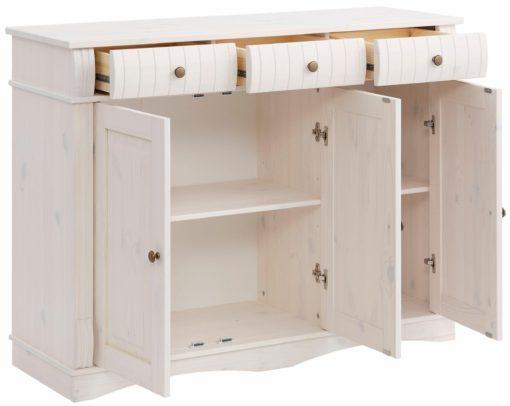 Sosnowy kredens biały, 3-drzwiowy, szerokość 119 cm