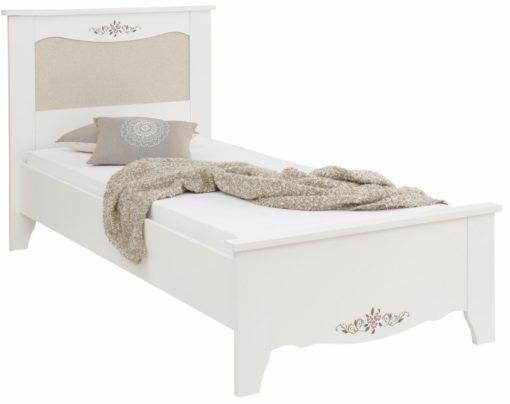 Łóżko Lina, z nadrukiem kwiatowym i wkładką z tkaniny 90x200 cm