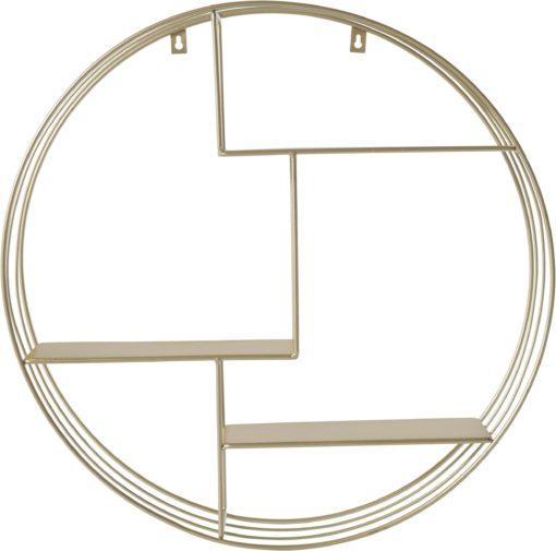 Złota półka ścienna okrągła, 50 cm
