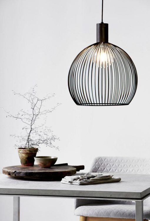 Nowoczesna lampa wisząca AVER 40, metalowa, czarna