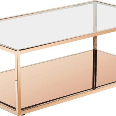 Złoty stolik kawowy z metalową ramą, elegancki design