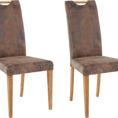 Dębowe krzesła ciekawie tapicerowane - 4 sztuki