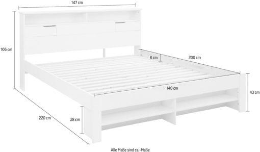 Łóżko Nara ze schowkiem, białe 140x200 cm
