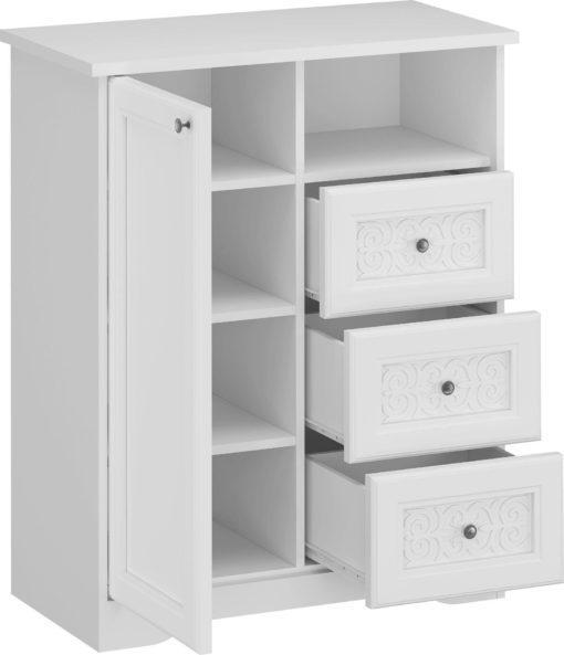 Biała komoda z ornamentem na szufladach