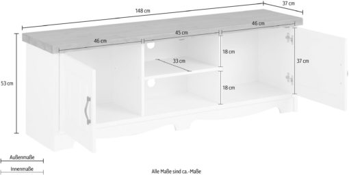 Sosnowa szafka rtv biała z szarym blatem, 148 cm
