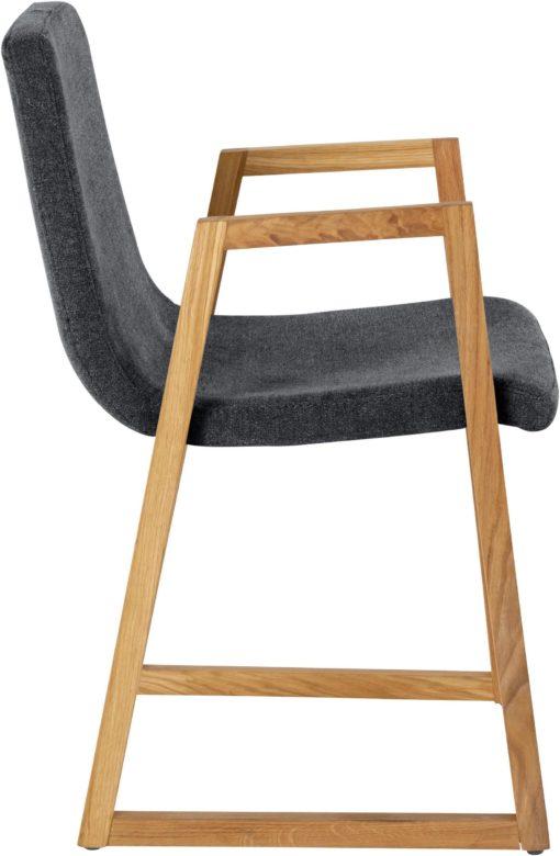 Dwa fotele grafitowe, nogi dąb, nowoczesne wzornictwo