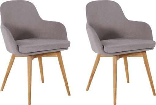 Dębowe krzesła fotele z podłokietnikami, szare - 2 sztuki