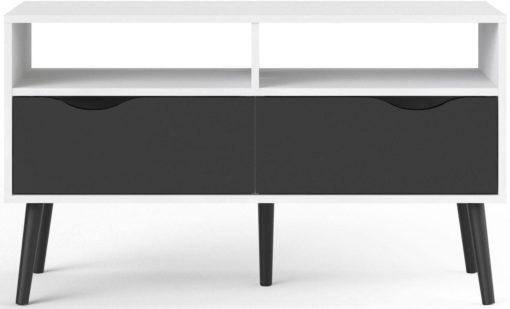 Szafka RTV OSLO biało-czarna, w stylu retro