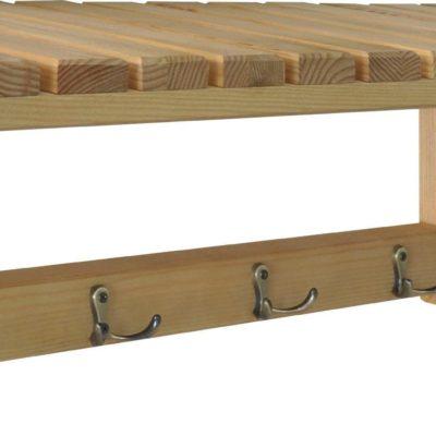 Drewniany wieszak z półką, minimalistyczny
