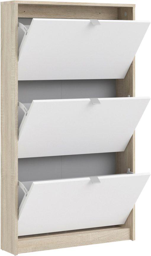 Nowoczesna szafka na buty biało-dębowa