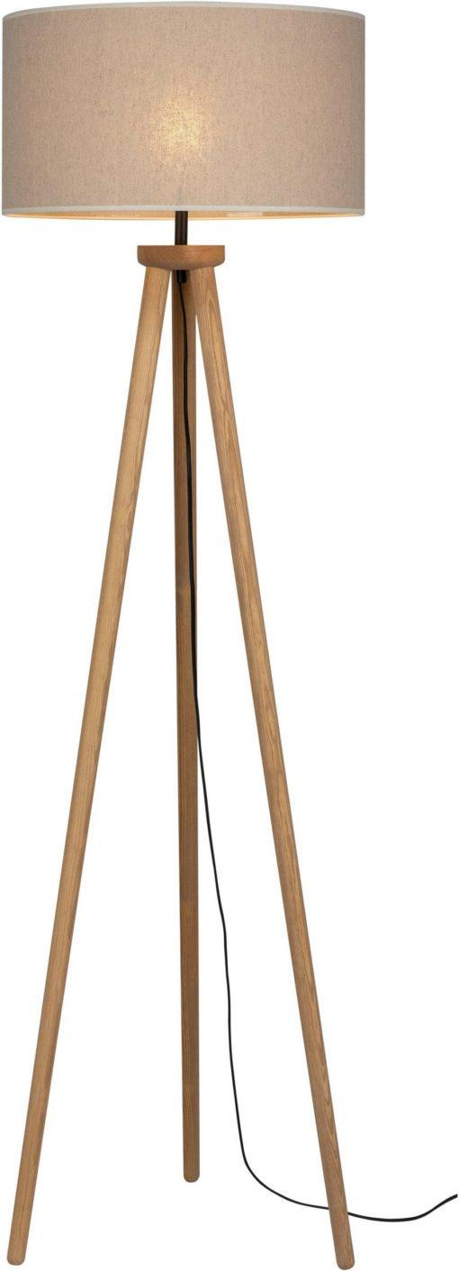 Lampa podłogowa z sosnowymi nogami, beżowa