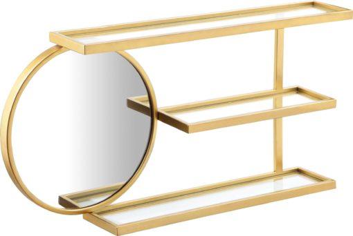 Złota półka ścienna Moreen z lustrem