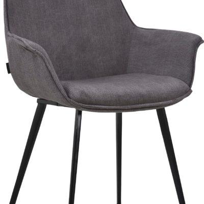 Szare krzesła z podłokietnikami i metalowymi nogami - 2 sztuki